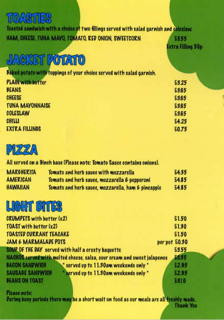 Safari Sams Menu Page 4